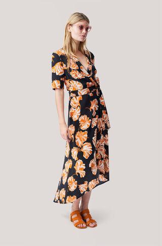 Geroux Silk Wrap Dress, Black, hi-res