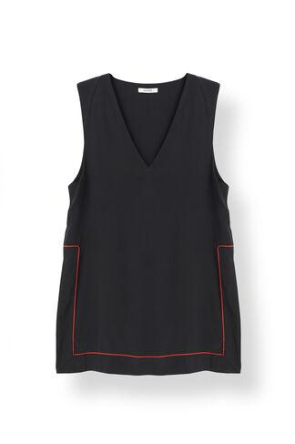 Grace Silk Long Top, Black, hi-res