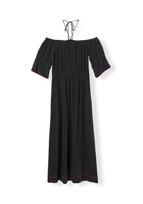 Grace Silk Dress, Black, hi-res
