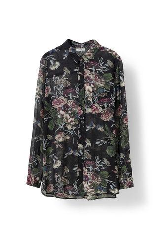 Bartlett Georgette Shirt, Black Bouquet, hi-res