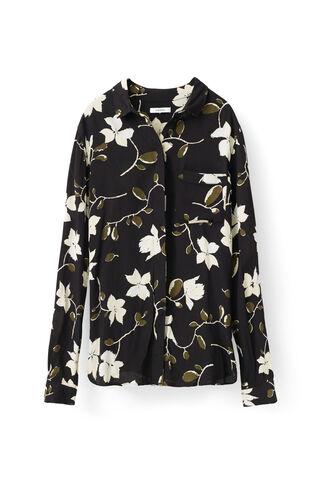 Rosemont Crepe Shirt, Black Wild Rose, hi-res