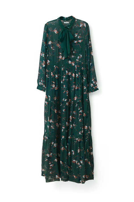 Marietta Georgette Maxi Dress, Pine Grove Leaves, hi-res