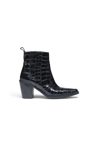 Dahlia Croco Ankle Boots, Black Croco, hi-res