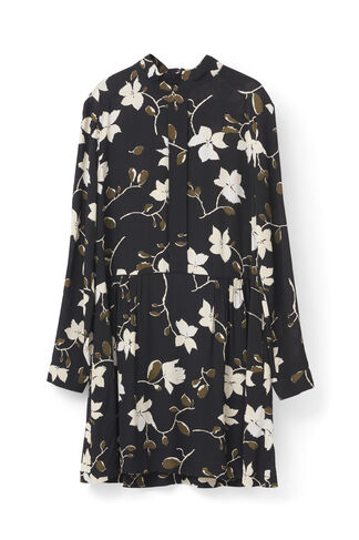 Rosemont Crepe Dress, Black Wild Rose, hi-res