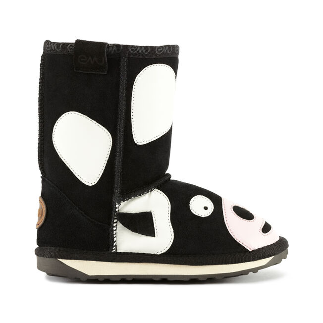 LC MOO COW Kids Cow Suede Boot - BLACK