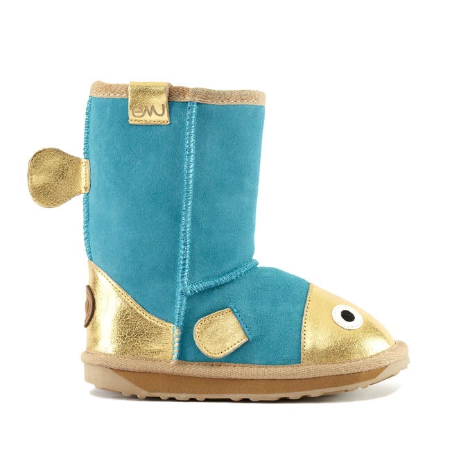 LC FISH Kids Cow Suede Boot - OCEAN BLUE