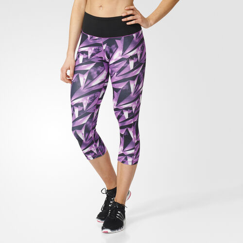adidas - Femmes High-Rise Three-Quarter Workout Tights Multicolor / Shock Purple F16 AY6187