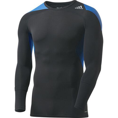 adidas - Men's Techfit Cool Long Sleeve Tee Black / Blue Beauty D81307
