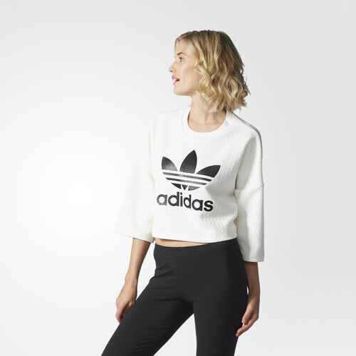 adidas - Women's Crop Trefoil Tee Core White AY6595