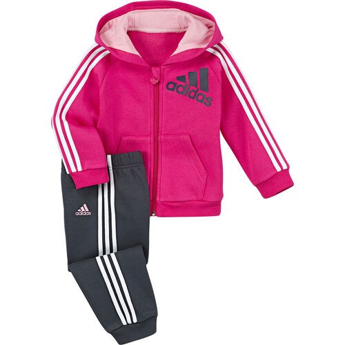 adidas - Infants 3-Stripes Full -Zip Hoodie Jogger Blast Pink / White / Night Shade G83682