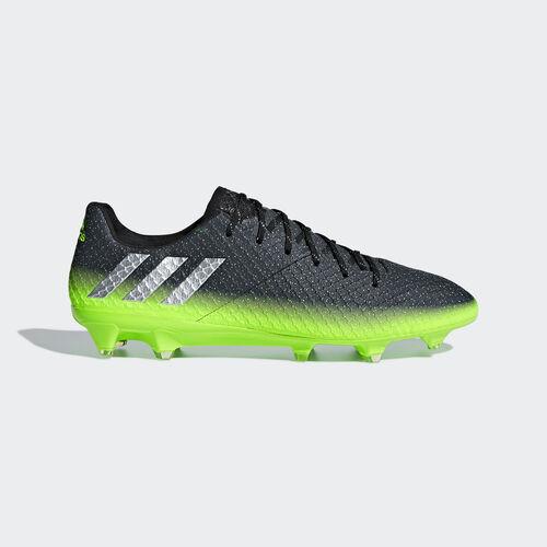 adidas - Hommes Messi 16.1 Firm Ground Boots Dark Grey/Silver Met./Solar Green S79625