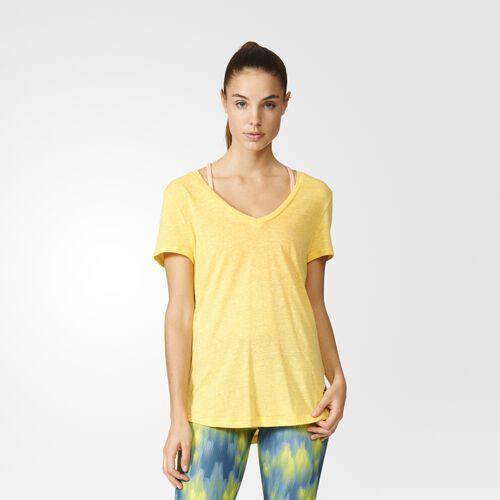 adidas - Women's Logo V-neck Tee Eqt Yellow S16 AZ3061