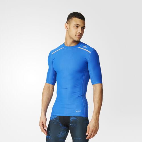 adidas - Men's Techfit Chill Short Sleeve Tee Blue AY3671