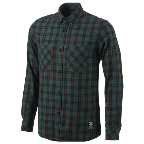 adidas - Men's Plaid Shirt St Forest Glade / University Red G77298