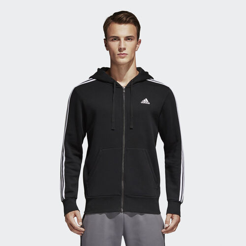 adidas - Essentials 3-Stripes Fleece Hoodie Black  /  White B47368