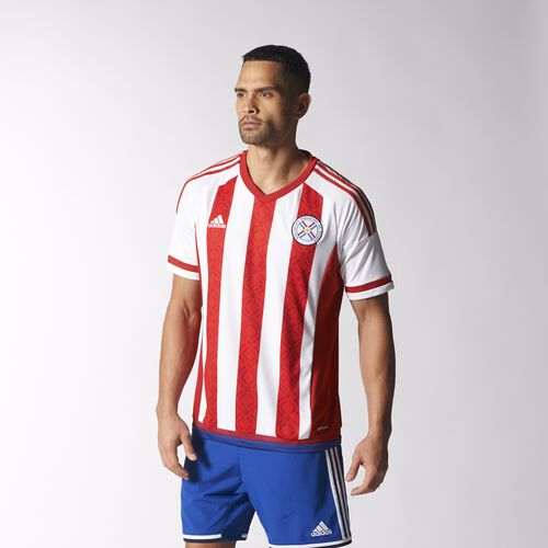 adidas - Men's Paraguay Home Replica Player Jersey White / Apf Red / Blue M34086