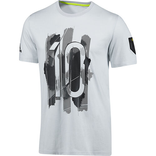 adidas - Men's Messi Graphic No. 10 Tee Light Grey / Black D87450