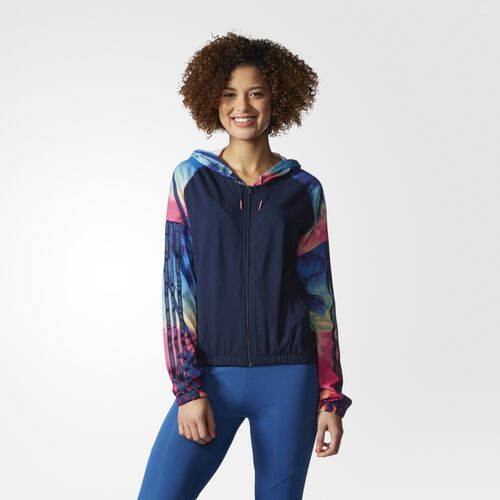 adidas - Women's Studio Palm Tree Hoodie Collegiate Navy/Multicolor AJ8569