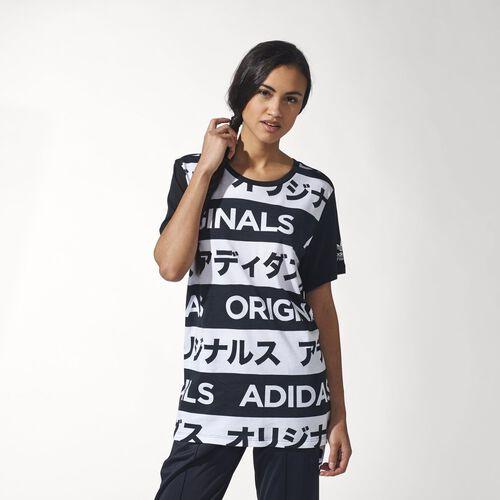 adidas - Femmes  Allover Print Typo Tee Black / White AA2486