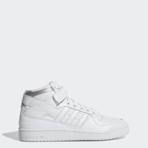 adidas - Hommes Forum Mid Refined Shoes Ftwr White / Ftwr White / Silver Met. F37831