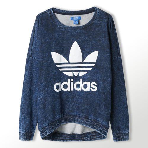 adidas - Women's French Terry Acid-Wash Crewneck Sweatshirt Dark Acid Wash M69689