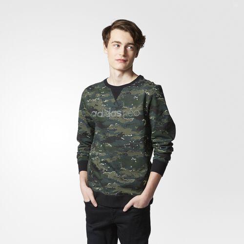 adidas - Hommes Camo Sweatshirt Shadow Green/Solar Yellow AJ8303