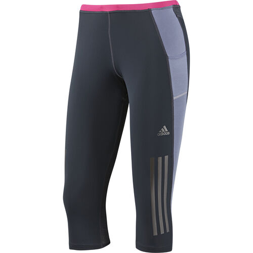 adidas - Women's Supernova Three-Quarter Tights Night Shade / Blast Pink G87450