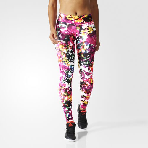 adidas - Women's Ultimate Fit Flowers Long Tights Multicolor/Shock Pink AJ5050