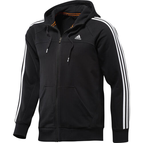 adidas - Hommes Essentials 3-Stripe FZ Hoodie Black X23567