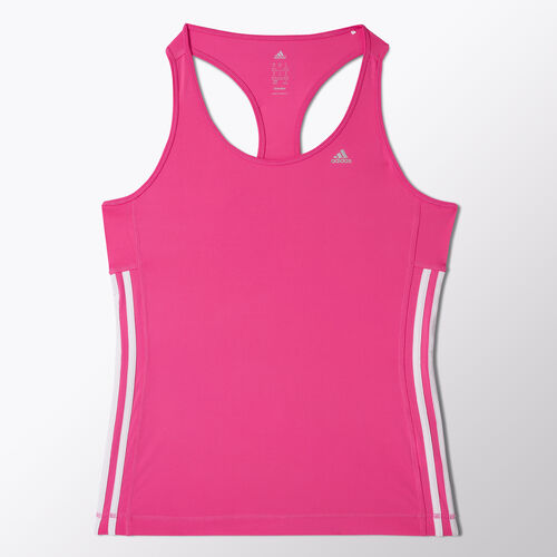 adidas - Women's Clima 3-Stripes Essentials Tank Solar Pink / White S21042