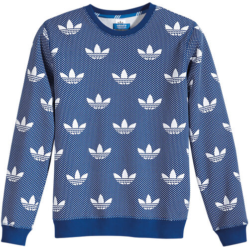 adidas - Men's Allover Print Trefoil Crew Sweater Collegiate Royal M69515