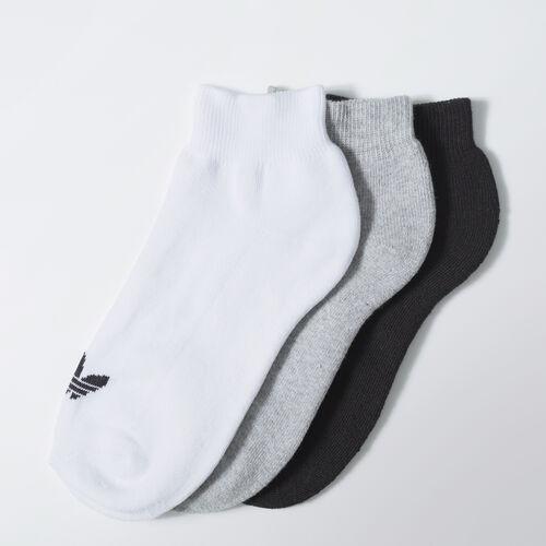 adidas - Trefoil Ankle Socks 3 Pairs White / Medium Grey Heather / White / Black S20279