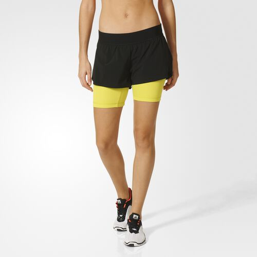 adidas - Femmes Two-In-One Gym Shorts Black/Shock Slime S94491