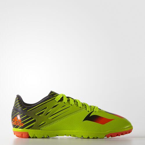 adidas - Botines de fútbol MESSI 15.3 Césped Artificial Niños Semi Solar Slime/Solar Red/Core Black S74697
