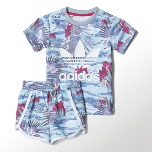adidas - Bebes Flower Shorts Set Multicolor / White / Bold Pink S14650