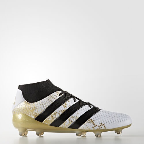 adidas - Hommes ACE 16.1 Primeknit Firm Ground Boots White/Core Black/Gold Met. S76474