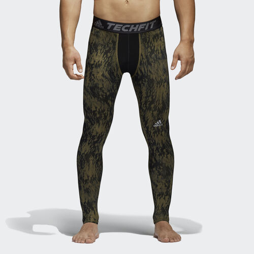 adidas - Hommes Techfit Base Shards Graphic Tights Olive Cargo F16 / Black S94430