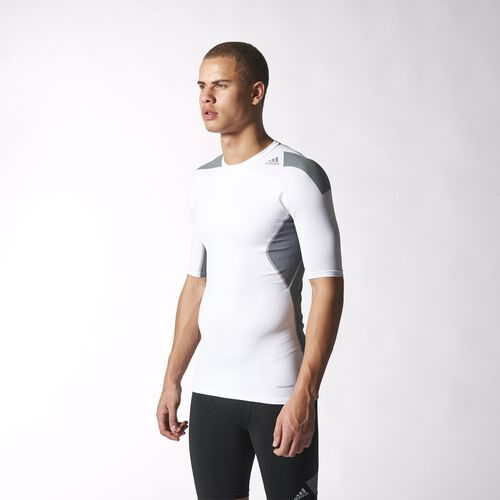 adidas - Men's Techfit Cool Short Sleeve Tee White/Vista Grey S19442