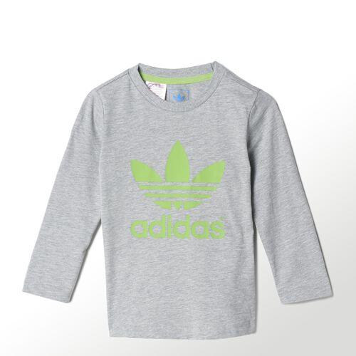 adidas - Bebes Trefoil Long Sleeve Tee Medium Grey Heather / Semi Solar Green M63350