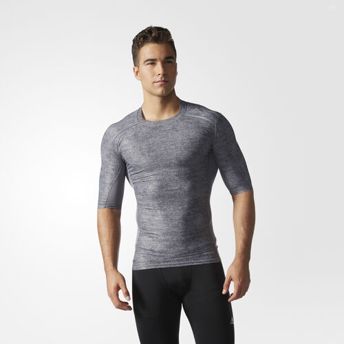 adidas - Hommes Techfit Chill Short Sleeve Tee Core Heather AI3330