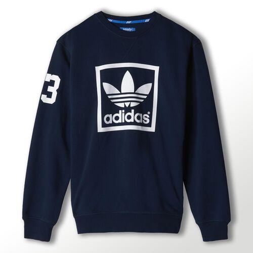adidas - Hommes 3-Stripes Trefoil Crew Sweatshirt Collegiate Navy M30257