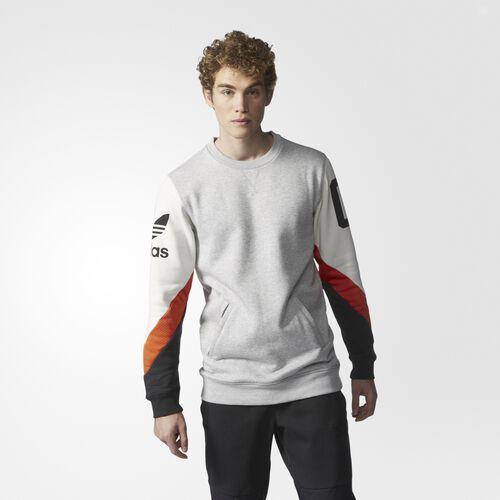 adidas - Hommes Basketball Crew Sweatshirt Medium Grey Heather/Talc/Corang/Black AJ7884