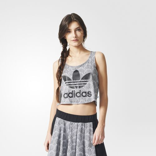 adidas - Femmes Shell Cropped Tank Top White/Black AZ4945