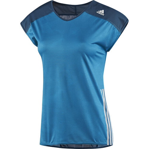adidas - Women's Adizero Cap Sleeve Shirt Tribe Blue / White F82665