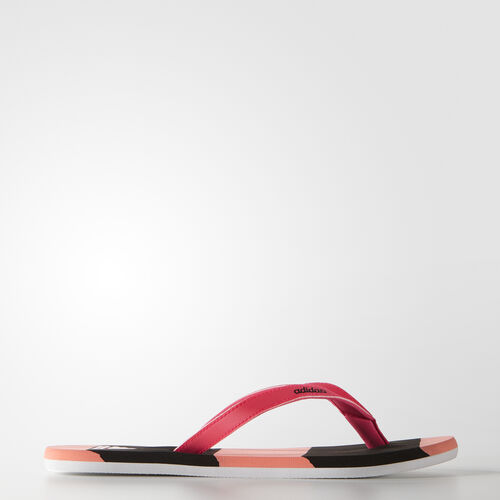 adidas - Femmes Eezay Striped Thongs Sun Glow/Core Black/Shock Red S78818