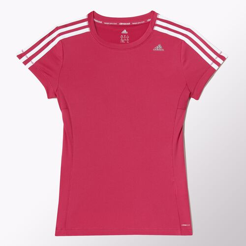 adidas - Kids Clima Core Tee Bold Pink / White / Silver Metallic M64345