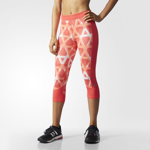 adidas - Women's Techfit Printed Capris Shock Red/Print/Matte Silver AJ2271