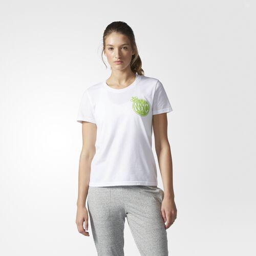 adidas - NYC Tennis Tee White  /  Semi Solar Green BP9187