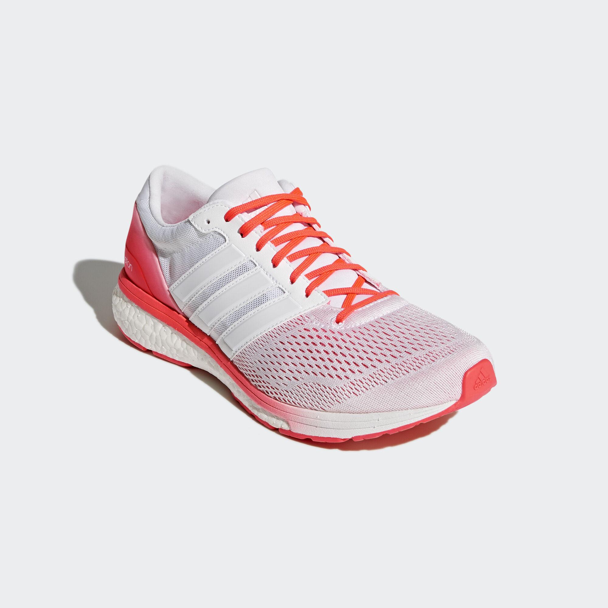 adidas - adizero Boston 6 Shoes Running White Ftw / Running White Ftw / Solar Red AQ5990
