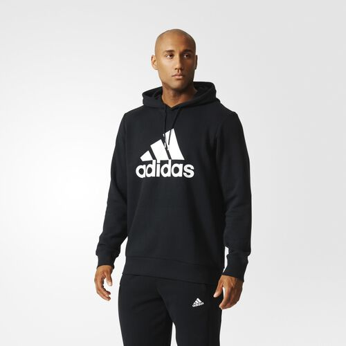adidas - Sport Essentials Logo Fleece Hoodie Black  /  White S21336